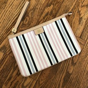 Ann Taylor Pink and Blue Striped Clutch